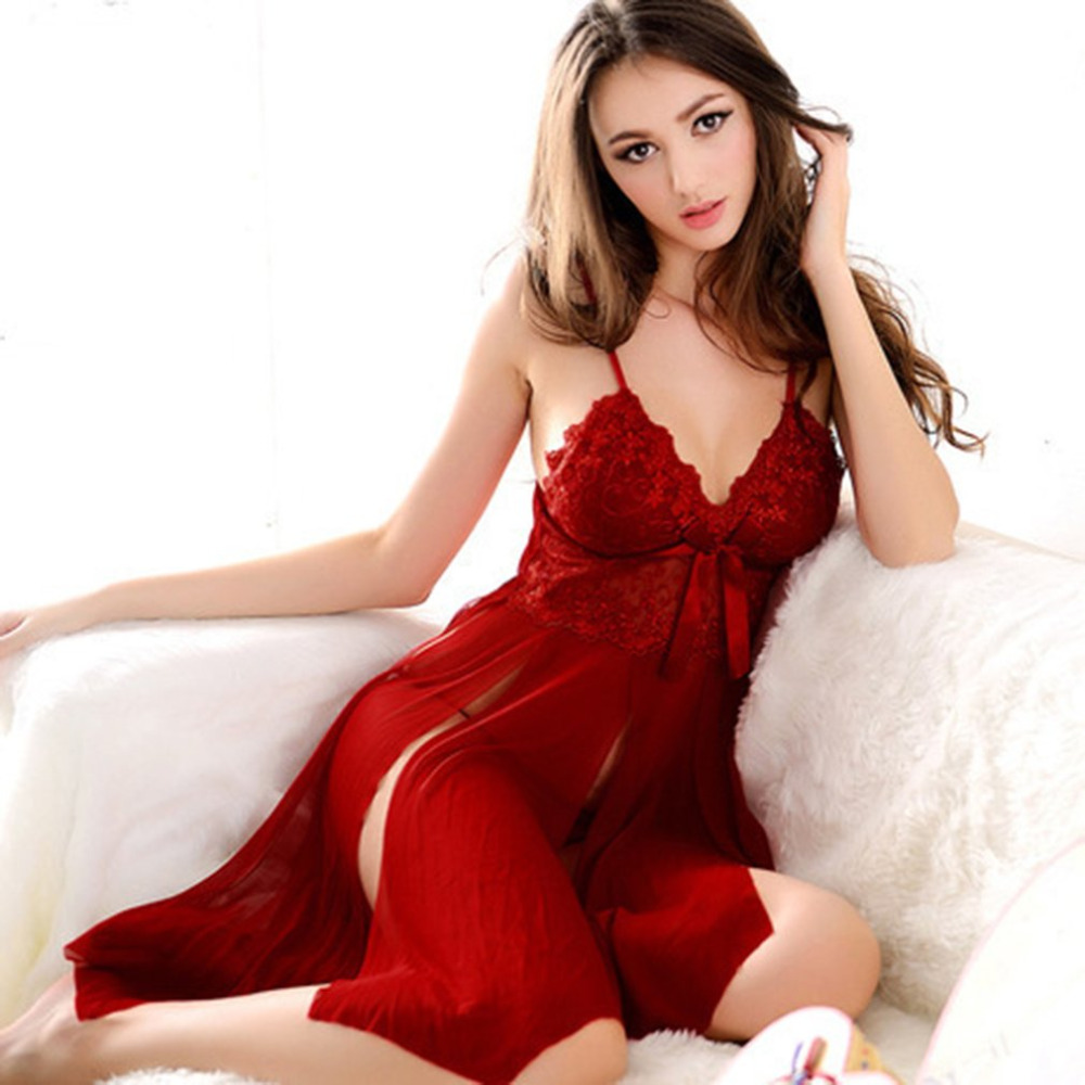 68a31f40d5 2019 Sexy Open Nightdress Lace Erotic Women Knee Length Lingerie ...