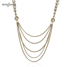 Free Shpping Sexy Multi-Layer Long Stream Suitcase Necklace Fashion Gold Jewelry For Women All Compatible Jewelry 2017 Newest(China)