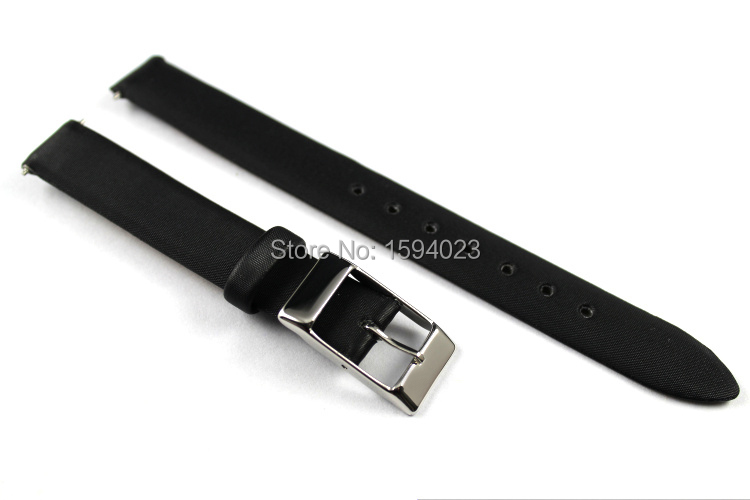 12mm (Buckle12mm) T58 High Quality Silver Buckle + Black Genuine Leather Watch Bands Strap Woman Free shipping<br><br>Aliexpress