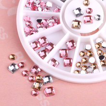 Blueness 1Wheel 3D Round Square Design Manicure DIY UV Gel Polish Rhinestones Glass For Nails Art Decorations Supplies Crystal