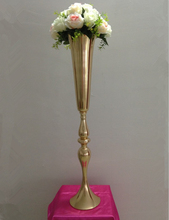 88cm height gold metal candle holder candle stand wedding centerpiece event road lead flower vase 12 pcs/ lot(China)