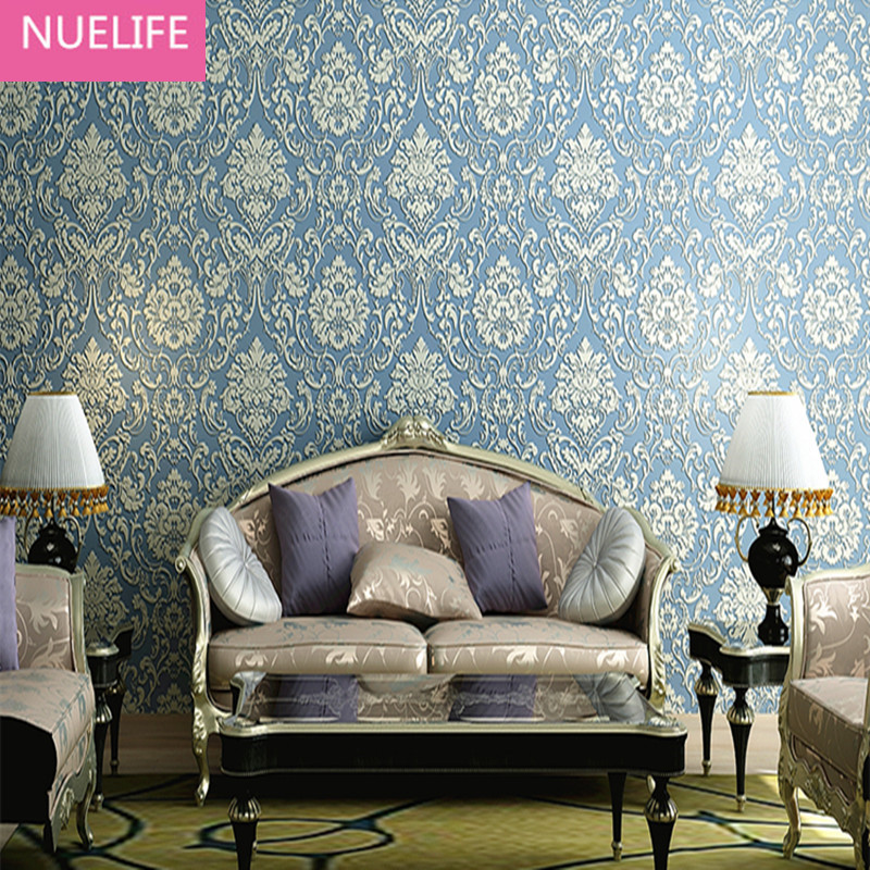0.53x10 Meter  European style Damascus flower pattern relief 3d non woven fabric wallpaper bedroom living room wallpaper<br>