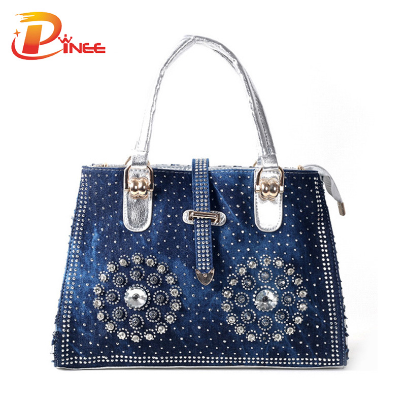 Wholesale casual women handbag 2016 fashion designer denim jean shoulder bags for ladies<br>