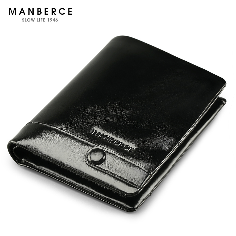 Brand MANBERCE Men Wallet Genuine Leather  Cowhide Purse Large Capacity Credit Card Wallet Mens Wallet Free Shipping<br>