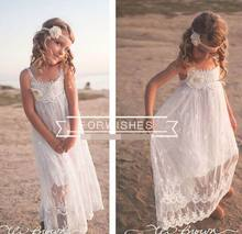 2016 Summer New Large Girl Beach Dress White Lace Bohemia Slip Dress Fashion Sundress Children Clothing  8-14T GF014