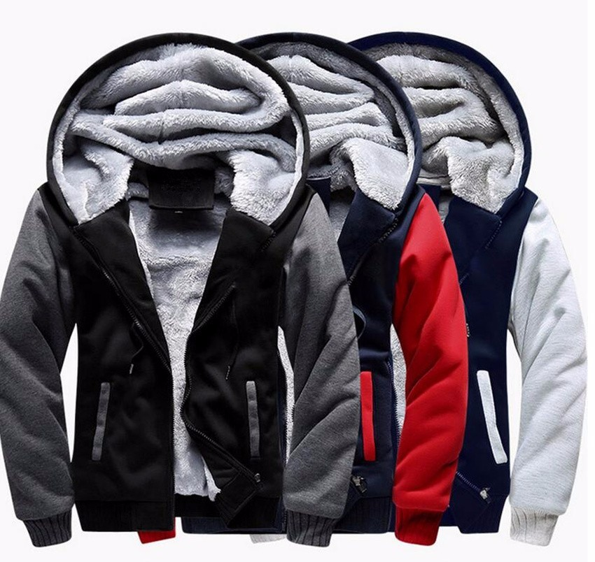 5XL Fleece Hoodies Men Winter Warm Mens Hooded Jackets Tracksuits Outwear Patchwork Sportswear Thicken Wool US Size Sweatshirts 1