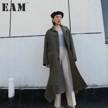 [EAM] 2018 new spring lapel long sleeve camel plaid loose long irregular wollen coat women jacket fashion tide JD80404(China)