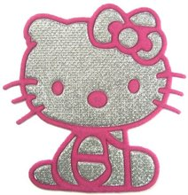 FREE SHIPPING - Pink Hello Kitty Iron On Patches Clothes Tee Shirt Hat Jean shoes Jacket Pet Clothing Silvery Gifts