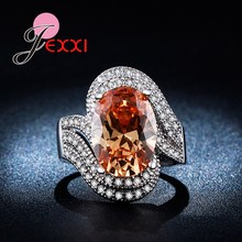JEXXI Exaggerated Luxury Zirconia Rhinestone Finger Rings Fashion Women Jewelry Sterling Silver Big Clear Yellow Crystal Ring(China)