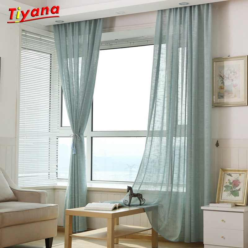 On Sale Solid linen Curtains For living Room bed room Colorful White Sheer Curtain Yellow Tulle Blue Curtains Pink WP342a *30
