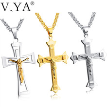 Buy V.Ya Cross Crucifix Jesus Piece Pendant & Necklaces Sliver Gold Color Stainless Steel Men Chain Christian Jewelry Gifts Vintage for $5.59 in AliExpress store