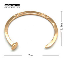 Punk Harbors Style High Quality Concise Gold Nail Bracelet Bangles For Women Men Express Charm Jewelry Accessories Holiday Gift(China)