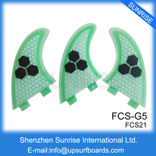 FCS Fins G5 Light Green Surf Quilhas SUP Board Fins