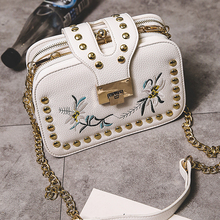 flower Embroidered bag women rivet crossbody bag luxury designer party bags channel clip shoulder messenger bags ladies clutches(China)