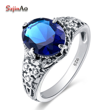 Szjinao Russian 925 Sterling Silver Jewelry Blue Crystal Marriage Rings For Women Fashion Cute lighter Wedding Ring bijoux