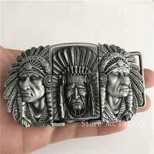 Retail New Native American Indian Chief Lighter Belt Buckle With Silver Metal Men's Leather Belt accessories For 4cm Wide Belt