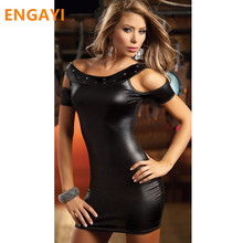 Buy ENGAYI Brand Sexy Summer Faux Leather Latex Women Erotic Dress Sexy Lenceria Babydoll Nuisette Porn Sexy Costumes Dresses A1028