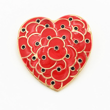 DHL FREE SHIPPING Blood Red Enamel Heart Shaped Poppies Brooch Cheap Wholesale The Royal British Legion Poppy Brooch Pins(China)
