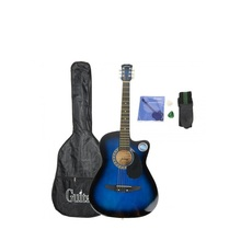 CSP38C 38 Basswood Cutaway Acoustic Guitar Blue of Black with Bag Strap Pick(China)