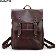 2017 hot sale Crazy horse leather backpack men bags for school double shoulder bag male travel bagpack retro work bag(China)