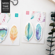 4 pcs/Lot Rainbow feather sticky note Post it planner sticker Memo label Stationery Office accessories School supplies F171