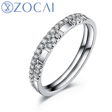 ZOCAI 100% natural diamond ring 0.24 ct certified diamond 18K white gold ring 2 pcs wedding bands fine jewelry W05538
