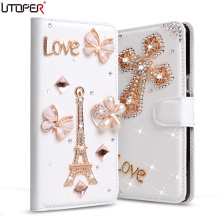 S7270 Luxury Rhinestone Diamond PU Leather Cover For Samsung Galaxy ACE 3 ACE3 S7272C Phone Cases Stand Flip Wallet+Card Slot(China)