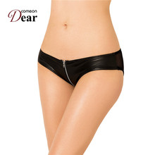 Buy Comeondear Womens Underwear Lingerie Faux Leather Zipper Lace Patchwork Tangas Mujer Plus Size 3XL Women Panties Sexy PK5127