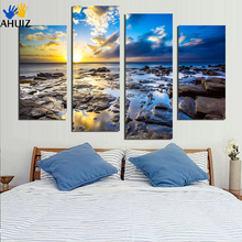 Modern 4 panel home decoration combinative canvas painting sunrise by the sea for decorative free shipping F1830(China)