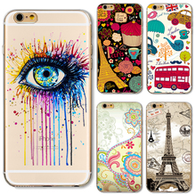TPU Cover For Apple iPhone 5 5S SE 6 6S 6Plus 6S+ 7 Cases Phone Shell Painting Charm Color Eyes Peony Flower Cute Sika Silicon(China)