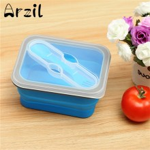 Food Container Lunch Box Silicone Foldable Collapsible with Spoon Fork Cover Microwave Box Eco-Friendly Picnic Fruits Bowl(China)