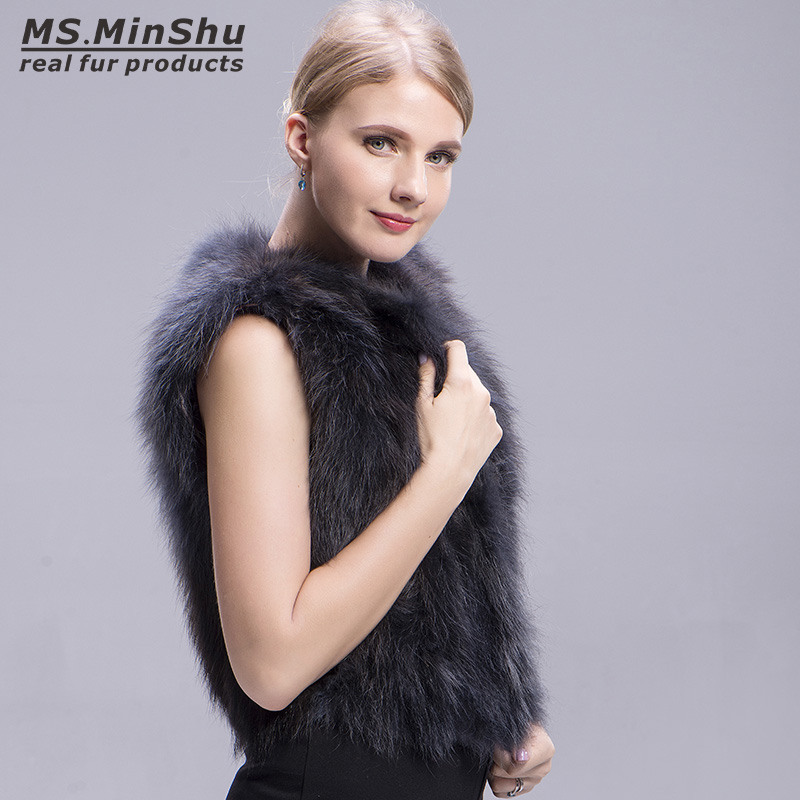 raccoon fur vest grey 2