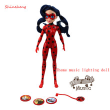 New Arrival 27cm Miraculous Ladybug Theme Music Lighting Action Figure Toy Joint Movement BJD Fashion Doll Girl Birthday Gift(China)