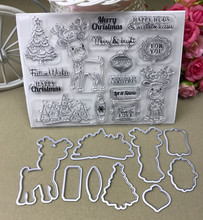 Christmas deer Transparent clear Stamp and Metal Cutting Die for DIY Scrapbooking / Card Making/Photo Album Decoration