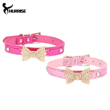 HURRISE Lovely Pets Dog Collar Bling Crystal Bowknot Pet Collar Puppy Cat Adjustable Necklace Hot Selling Pink/Rose Red S/M size