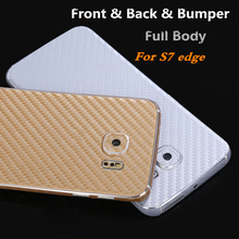 Front+Back Real Full Body Ultra Thin Frosted Carbon Fibre Sticker Cover Case Skin For Samsung Galaxy S7 Edge G9350