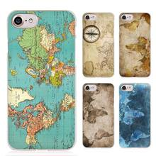 Old Retro Colorful World Map Clear Cell Phone Case Cover for Apple iPhone 4 4s 5 5s SE 5c 6 6s 7 Plus