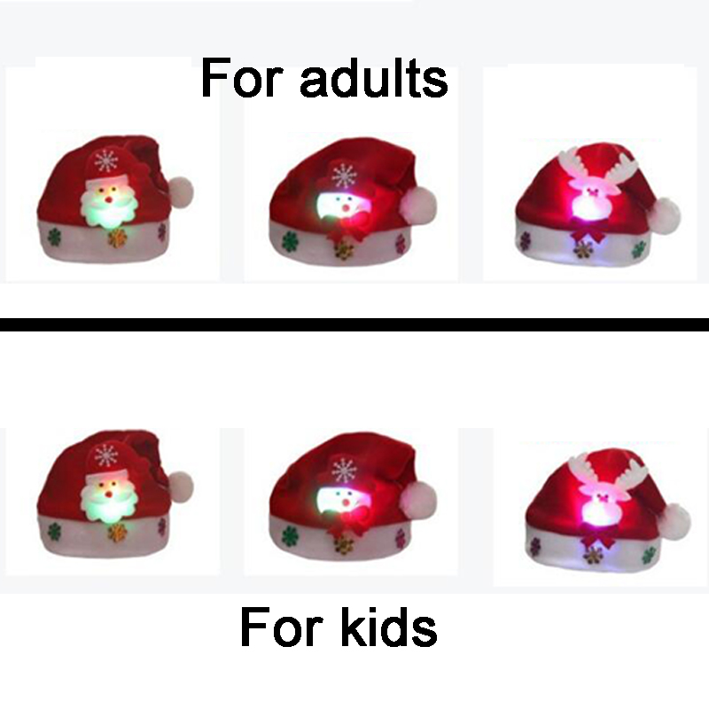 Rave LED Christmas Hat Reindeer Snowman Santa Hat Decoration Xmas Gifts For Children Kids Adult Hats Christmas Party Props (1)