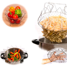 1Pc High Quality Foldable Steam Rinse Strain Fry French Chef Basket Magic Basket Mesh Basket Strainer Net Kitchen Cooking Tool