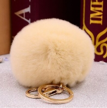 Fluffy 11 colors Rex Rabbie Fur Pompom 8CM For Bags&Cars Charm Real Natural Fur Balls Genuine Fur Pom Poms Key Chain K005-beige(China)
