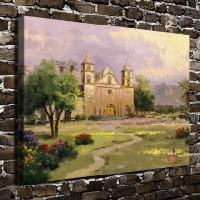 H1099 Thomas Kinkade The Old Mission Santa Barbara,HD Canvas Print Home decoration Living Room Bedroom Wall pictures painting(China)