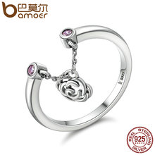 BAMOER New Design Authentic 925 Sterling Silver Flower Rose Story Rose Dangle Ring Women Sterling Silver Jewelry Gift SCR148(China)