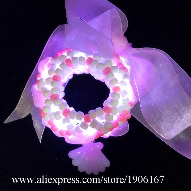 Glowing bracelet rave music festival led kandi 3D girl heart pink electric syllable bracelets nightclub jewelry1