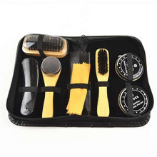 6 Pcs/Set Shoe Brush Professional Shoe Care Tool Black & Neutral Practical Shoes Shine Polish Cleaning Smooth Wooden Brushes Set(China)