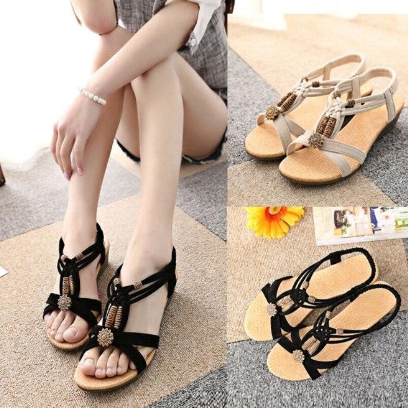 kai yunon 2016 summer Womens Casual Peep-toe Flat Buckle Shoes Roman  Sandals Aug 19<br><br>Aliexpress