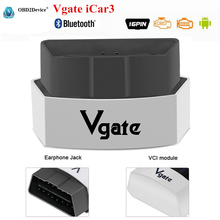 Vgate ELM327 Bluetooth iCar3 V2.1 code reader Supports Android Torque ELM 327 iCar 3 BT Vgate OBD/OBD2 Diagnostic Tool Interface(China)