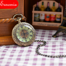 Vintage Bronze Engraved Case Men Mechanical Pocket Watch Watches With Chain Hand-Winding Necklace Watch Men PW143
