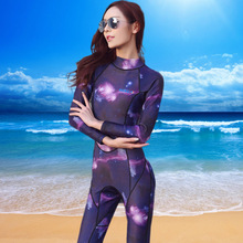 Women's Full Wetsuit 3mm Premium Neoprene Starry Starry Night Digital Printed Long Sleeve Wetsuits Diving Snorkeling Scuba Surf(China)