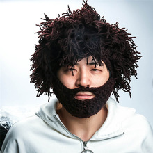 Halloween Gifts Funny Party Beanies Wig Beard Hats Hobo Mad Scientist Caveman Handmade Knit Warm Winter Caps Men Women(China)