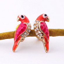 YITING New Loverly Animal Red Bird Stud Earrings Fashion Charms Crystal Earrings For Women Jewelry Christmas Gifts